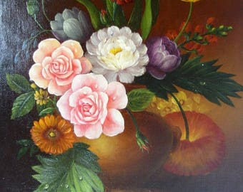 Milliam Original Oil on Canvas Painting Botanical Still-Life Unstretched