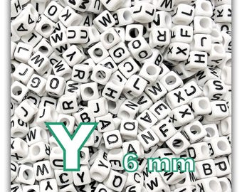 """50 beads alphabet """"Y"""" 6mm - cube letter beads"""
