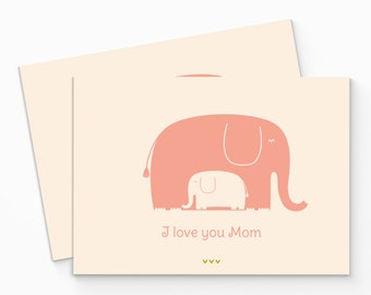 PRINTABLE Pink Elephant Mother's Day Card. I Love You Mom. Digital Card for Mother. Happy Mothers Day Card. DIY Printable Card. Mom Card.