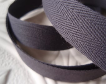 "Twill Tape Dark Gray Cotton 10 Yards 5/8"" width"