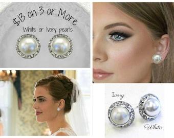 Sale, Pearl Stud Earrings, Bridal Earrings, Bridesmaids Earrings, Pearl Post earrings,Pearl Wedding Earrings, Small Bridal earrings