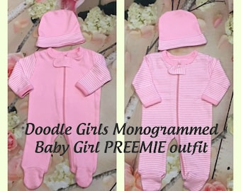 Monogrammed PREEMIE Girl Outfit.  Baby Girl Preemie Set.  Preemie Sleeper and Cap.  Baby girl sleeper and cap. Striped Preemie Gift Set.