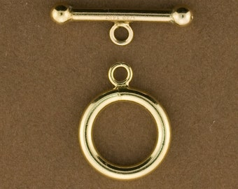 1set, Gold Filled 12mm Toggle Clasp for Jewelry.  12mm Ring. 19mm Bar. 14kt Gold Filled. GFTG09