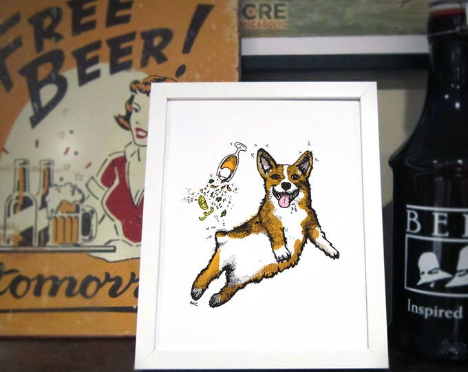 Featured listing image: Corgi Beer Art Print, Corgi Wall Art, Beer Bar Art, Brewery Art / 8x10 Print