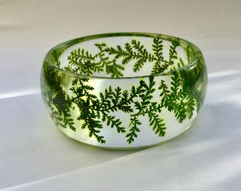 Green silver lace bangle,green leaf bangle,real leaf bangle