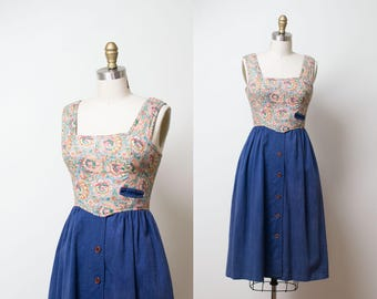 1970s Quilted Denim Dress