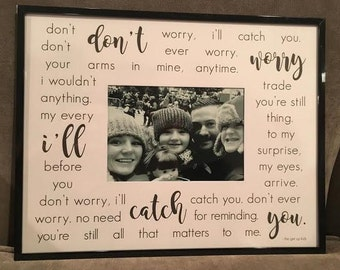 Custom Photo Mat with frame. Your choice of lyrics, poem or quote on 11x14 photo mat for 5x7 photo with frame. Perfect gift.