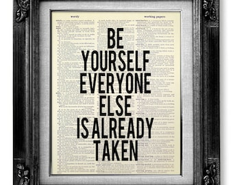 Inspirational Quote Poster OFFICE Decor Man, Be Yourself Print, MOTIVATIONAL Wall Decor, Text Poster, OSCAR Wilde Quote, Oscar Wilde Print