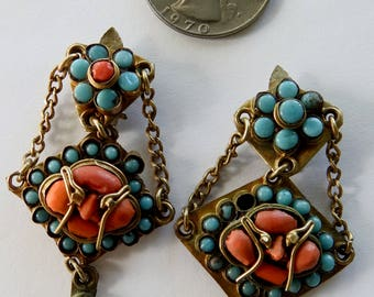 Antique Turquoise Coral Brass Buddha Clip On Earrings