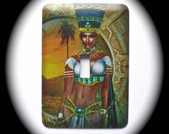 METAL Decorative Single Switch Plate ~ Egyptian, Lady, Light Switchplate,  Switch Plate Cover