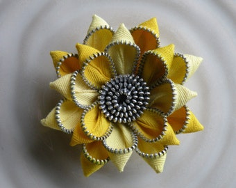 Yellow Vintage Recycled Zipper Flower Brooch or Hair Clip