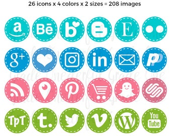 Social Media Icons, Social Sharing Icons, Social Media Buttons, Social Media Vectors, Blue Social Icons, Pink Blog Icon, Social Media Images