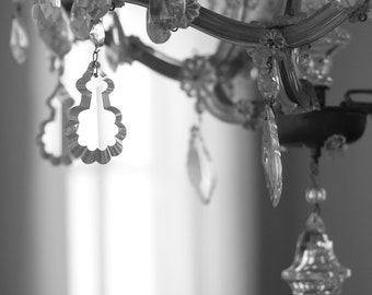 Whimsical Chandelier // Shabby Chic Wall Art // Black and White Fine Art Photography // Photo Print