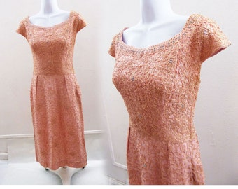 Vintage 1940s Dress Size M Pink Linen Lace Wiggle Rockabilly Swing Vtg 50s Shawl