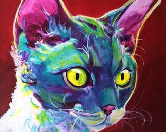 Devon Rex Cat, Pet Portrait, DawgArt, Cat Art, Pet Portrait Artist, Colorful Pet Portrait, Devon Rex Art, Pet Portrait Painting, Art Prints