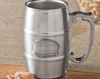 16 oz. Stainless Steel Beer Tankard - Personalized Beer Tankard - Personalized Beer Stein - Personalized Beer Mug - Groomsmen Gift - GC1135