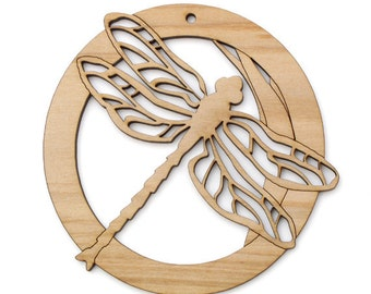 Dragonfly Circle Design Ornament - Timber Green Woods. Sustainable Harvest Wood. Made in the USA!