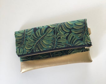 Ready to ship! Banana lead clutch with gold faux leather - rifle prints