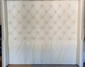 Diamond Tufted Faux Leather Wingback Headboard with Crystal Buttons (King, Extra Tall)