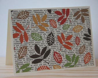 12 Fall Leaves Note Cards. Autumn Leaves Card Set. Thanksgiving Note Cards. Fall Party Invitations.  Thank You Cards.  Note Card Set