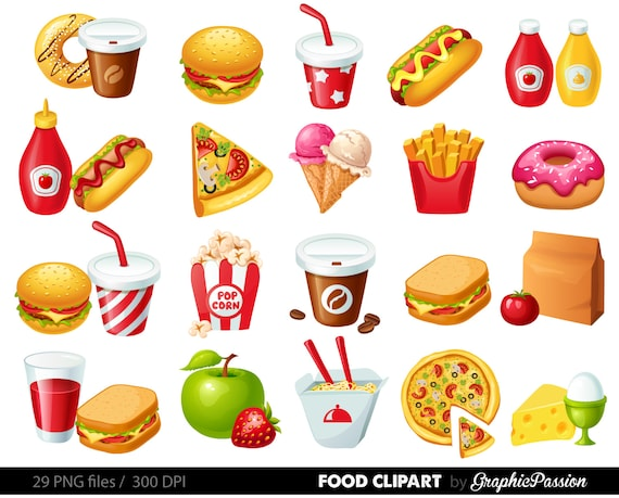 fast food clipart hamburger clip art coffee clip art food rh etsy com no junk food clipart junk food clipart images