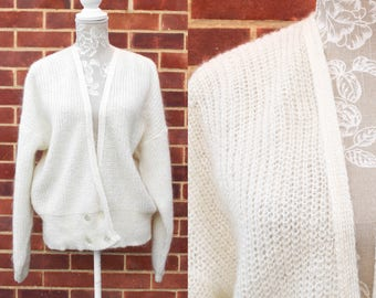 80s Vintage Mohair Sweater • Loop Knit Cardigan • Cream Overiszed Sweater • Double Breasted Wrap Cardigan • Winter Knitwear • Poodle Sweater