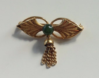 Vintage Jade and gold tasseled pin brooch