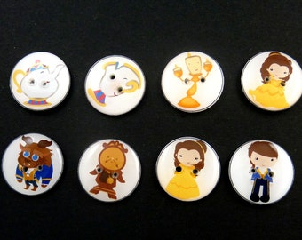 """8 Beauty and the Beast Buttons. Handmade By Me.  3/4"""" or 20 mm Fairy Tale or Story Buttons. Sewing, Knitting, Crochet Accessories."""