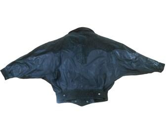 Minimalist Clothing/ Dolman Sleeve Jacket/ Black Leather Jacket/ Motorcycle Jacket/ Biker Jacket Leather/ Womens Biker Jacket/ 80s Leather