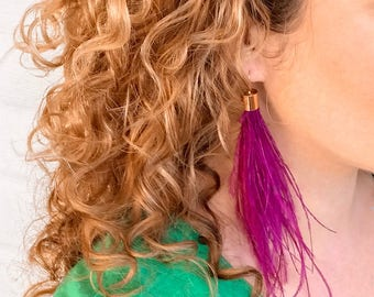 Mardi Gras Purple Feather Earrings