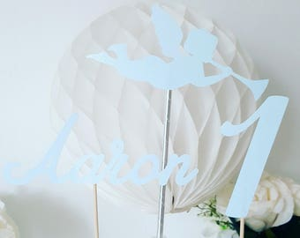 Cake decoration - first name + age + Angel glittery paper sky blue - birthday