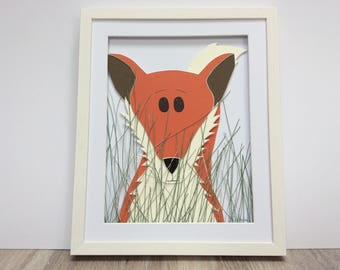 Sneaky Fox-Hand made and assembled childrens art-Professionally framed-Unique gift.