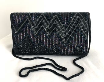Vintage Black Beaded Evening Bag with Zig Zag Design