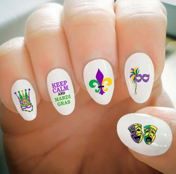 Nail Decals, Mardi Gras Nail Decals, Fat Tuesday, Water Transfer ...