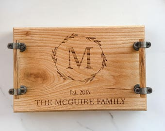 Personalized Tray, Family Name, Custom Gift, Coffee Table Tray, Gift for Couple, Groom Gift, Personalized Gift, Tray with Handles, Wood Tray
