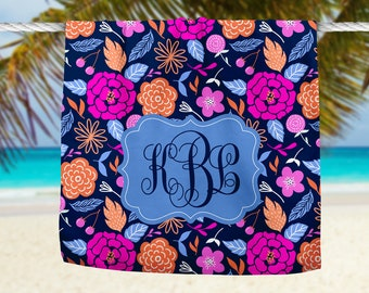 Bright Floral Beach Towel, Custom Beach Towel, Personalized Towel, Custom Monogram Towel, Custom Towel, Bachelorette Gift,