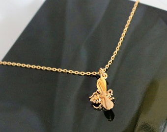 Gold honey bee necklace, Bumble bee necklace