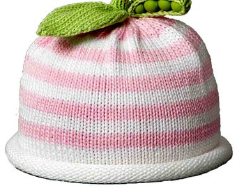 Swee Pea Knit Hat, Pink and Whte Striped, Hand Loomed Cotton Knit Cap for Baby & Toddler, Baby Shower Gift, Baby Gift, Free Shipping