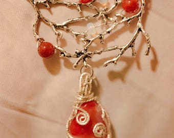 Wire Wrapped Fire Opal Statement Necklace