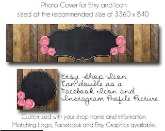 DIY Etsy Cover Photo - Add your own Text, Instant Download, Rosewood, New Cover Photo For Etsy, Made to Match Graphics
