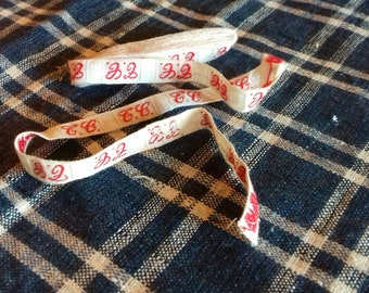 Vintage French Monogrammed Laundry Tape EC