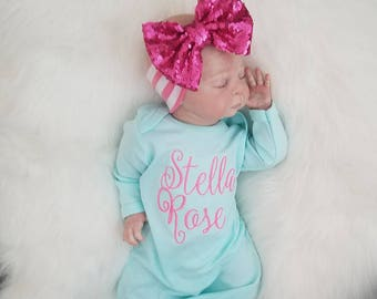 Baby Girl Gown, Infant Gown, Personalized Gown, Baby Gown, Monogramed gown, Coming Home Outfit, Baby Girl Going Home