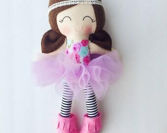 Ballerina doll - fabric doll - plush doll - handmade doll - nursery decor - baby gift