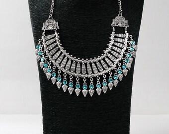 Silver Boho Necklace, Silver Turquoise Kuchi Jewelry, Festival Necklace, Jewellery
