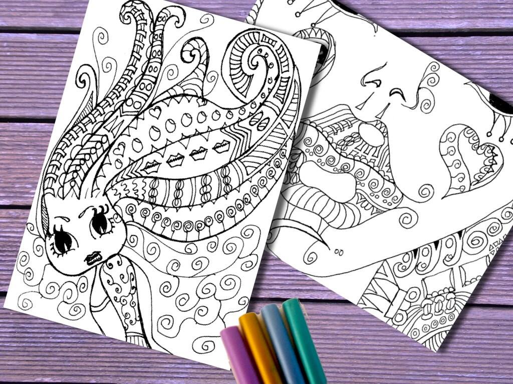 Dos Zentangle inspiró enredos de las mujeres colorear