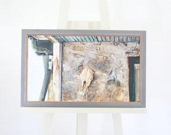 Andrew Wyeth Painting David Hellane School Of Framed Skull Signed Original
