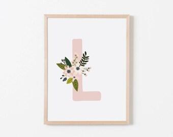 Gray Sprigs L Nursery Art. Nursery Wall Art. Nursery Prints. Nursery Decor. Girl Wall Art. Personalized Wall Art. Monogram Art. Floral Art.