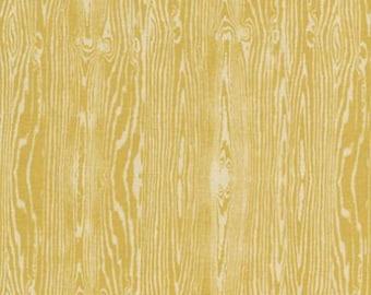 Joel Dewberry - Aviary 2 - Woodgrain - Vintage Yellow - Free Spirit Fabrics - half yard increments
