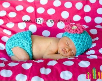 Aqua Pink Little Miss Diaper Cover Hat Set