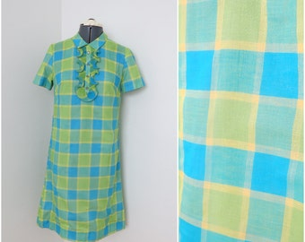 Vintage 1960s Lime Green & Blue Plaid Mod Shift Dress - Womens Bust 34 - By Patty Petite Ruffle Placket (B1)